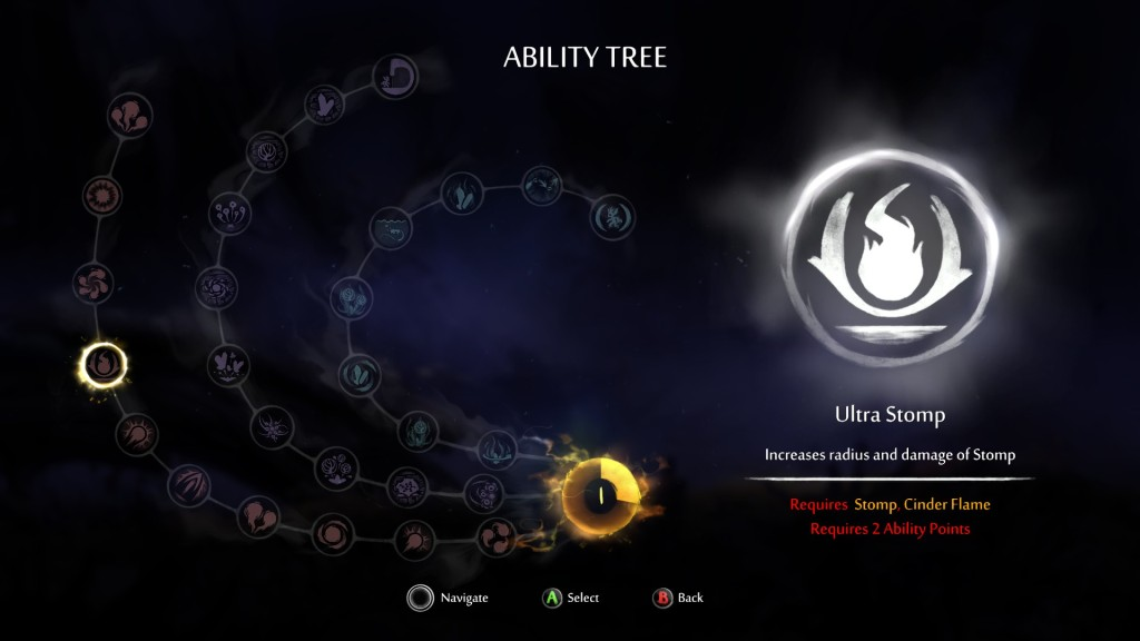 The ability tree allows for three paths to go down through. You were limited how far you could get on a given path before meeting a prerequisite that required you to complete more of the story. Additionally, these powers were not very interesting, as most of them simply were attribute increases such as increased damage, more life gained when opening a soullink.